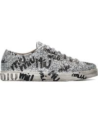 a2b059eb6902 Miu Miu - Silver Logo Graffiti Glitter Leather Sneakers - Lyst