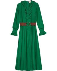 Gucci - Silk Dress With Double G Belt - Lyst