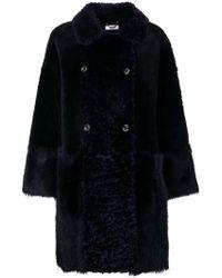 DESA NINETEENSEVENTYTWO - Blue Shearling Long Coat With Alpaca Inserts - Lyst