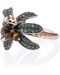 Bibi Van Der Velden - 18k Rose Gold Monkey Palm Tsavorite Ring - Lyst