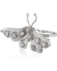 Saqqara - 18k White Gold And Diamond Butterfly Double Ring - Lyst