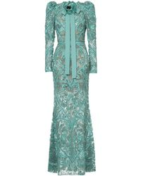 Elie Saab Long Sleeves Full Embellished Column Gown