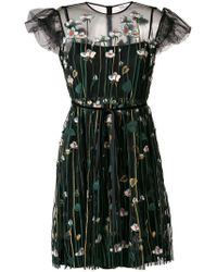 RED Valentino - Embroidered Tulle Dress - Lyst