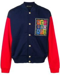 Versace - Embroidered Logo Patch Bomber Jacket - Lyst
