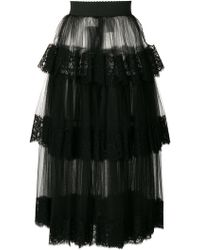 Dolce & Gabbana - Lace Tiered Tulle Skirt - Lyst