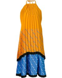 Victoria, Victoria Beckham - Pleated Tiered Colour Block Dress - Lyst