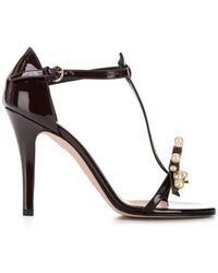 22d825e48a95dc Lyst - Red Valentino Jewel Embellished Sandals in Black