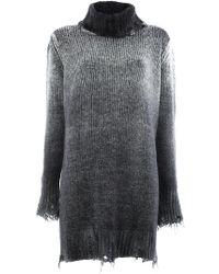 Avant Toi - Distressed Overdyed Turtleneck Sweater - Lyst