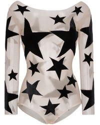 Alexia Hentsch - Silk Star Print Appliqué Bodysuit - Lyst