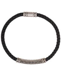 John Hardy - Silver Classic Chain Woven Leather Bracelet With Jawan Station - Lyst
