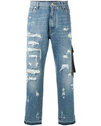 Dolce & Gabbana - Vaqueros con detalles rasgados - Lyst