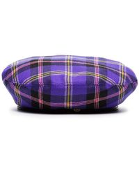 Versace - Purple, Yellow And Black Check Viola Wool Hat - Lyst