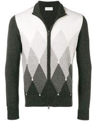 Ballantyne - Zipped Argyle-knit Cardigan - Lyst