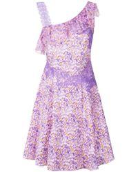 Blumarine - Floral Print Lace Trim Dress - Lyst