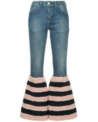 Tu Es Mon Tresor - Striped Flared Edge Jeans - Lyst