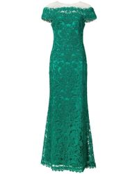 Tadashi Shoji - Illusion Off The Shoulder Lace Trumpet Gown - Lyst