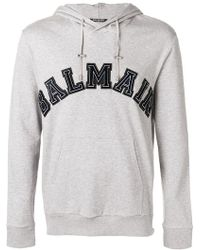 Balmain - Grey Side Zip Logo Hoodie - Lyst