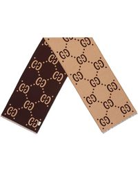 Gucci - GG Jacquard Wool Silk Scarf - Lyst