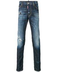 DSquared² - Schmale 'Twins' Jeans mit ausgeblichenem Effekt - Lyst