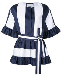 Goen.J - Stripe Panel Belted Jacket - Lyst