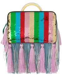 the VOLON - Tassel And Fringe Detail Clutch - Lyst
