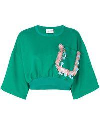 Au Jour Le Jour - Cropped Embroidered Pocket Sweatshirt - Lyst