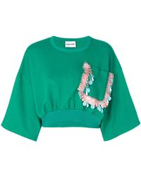 Au Jour Le Jour - Cropped Embroidered Pocket Sweatshirt - Lyst