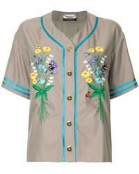 MUVEIL - Embroidered Button Shirt - Lyst