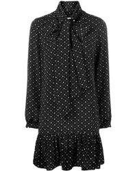 Saint Laurent - Pussy Bow Heart Print Dress - Lyst