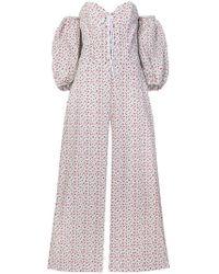 Vivetta - Off-shoulder Floral Print Jumpsuit - Lyst