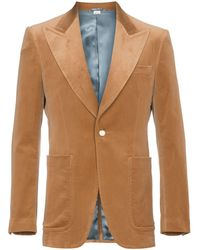 b6cd43d6fc3 Gucci Camel Striped Wool And Silk-blend Crepe Suit Jacket in Red for ...