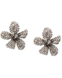 Oscar de la Renta Pavé Flower Earrings