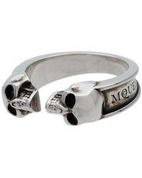 Alexander McQueen - Silver Twin Skull Ring - Lyst
