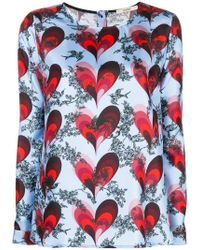 ODEEH - Heart Printed Blouse - Lyst