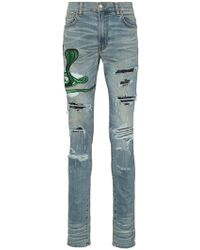 Amiri - Snake Patch Embroidered Skinny Jeans - Lyst