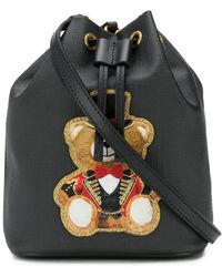 fe194f66c05 Moschino Lettering Leather Bucket Bag in Black - Lyst