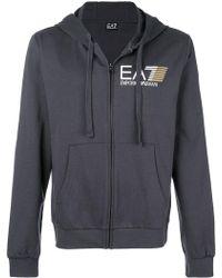 EA7 - Zip Front Logo Hoodie - Lyst