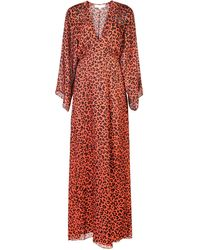 Michelle Mason - Leopard Print Plunge Gown - Lyst