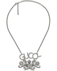 Gucci - Guccy Crystal Pendant Necklace - Lyst