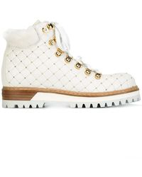 Le Silla - Studded Leather and Camel Fur Hiking Boots - Lyst