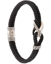 John Hardy - Silver Classic Chain Woven Leather Bracelet With Station - Lyst