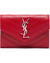 Saint Laurent - Red Monogram Envelope Leather Wallet - Lyst