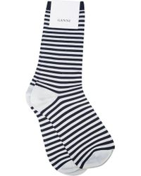Ganni - Striped Ankle Socks - Lyst