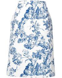 Oscar de la Renta - Floral Print Midi Skirt - Lyst