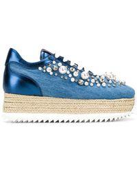Le Silla - Embellished Denim Platform Sneakers - Lyst