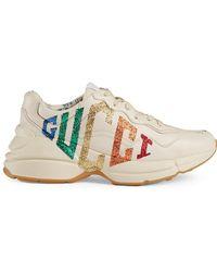 Gucci - Rhyton Glitter Leather Trainer - Lyst
