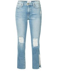 FRAME - Le High Raw Edge Exposed Zipper Jeans - Lyst