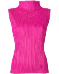 Pleats Please Issey Miyake - High Neck Top - Lyst