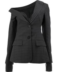 Vera Wang - Checked Button Blazer - Lyst