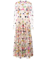 Christian Siriano - Floral-embroidered Flared Dress - Lyst